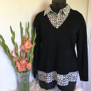 Investment Black & White Circle Sweater Blouse